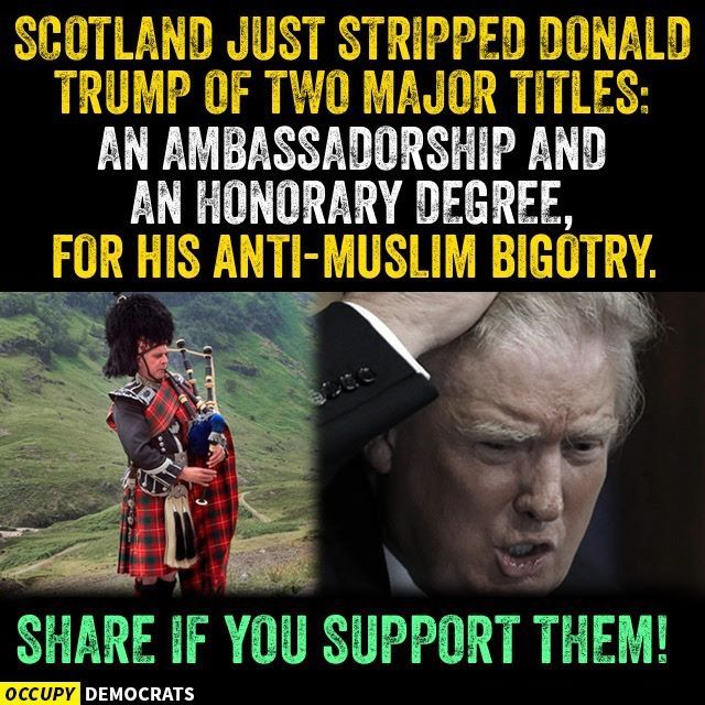 Thx you Scotland for stepping up and letting the GOP Know... Trump's Republikkkan Nazi Fascist Hate is UNACCEPTABLE!!