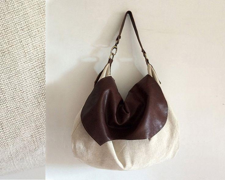 borsa pelle e cotone regali natale per lei, tote bag original designs, abbigliamento donna made in italy, fashion bag per viaggio di BBagdesign su Etsy