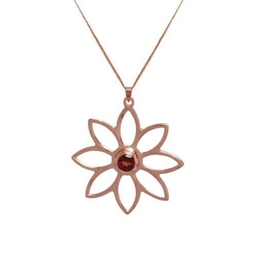 Namaqua Daisy Flower Necklace • Red Garnet • Rose Gold