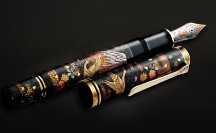 """Maki-e """"Fuji & Cranes"""" Pelikan Pens"""