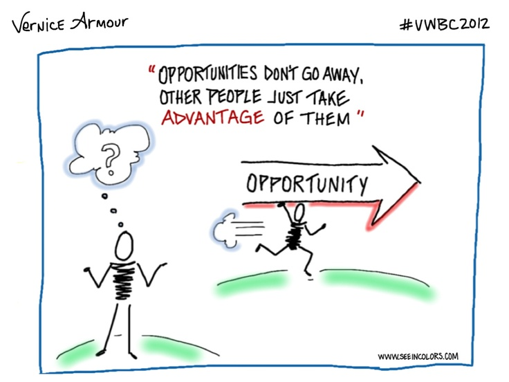 Opportunities | Virginia Womens Business Conference 2012  #VWBC2012 | Speaker: Vernice Armour | Date: 11/16/2012 | Sketchnotes by Lisa Nelson of seeincolors.com
