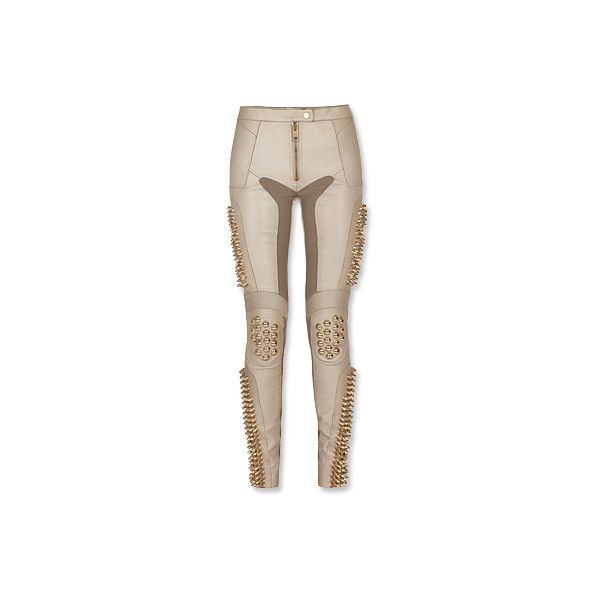Burberry Prorsum Nappa Punk Studded Bike Pants ❤ liked on Polyvore featuring pants, bottoms, jeans, burberry, brown pants, punk pants, burberry trousers and burberry pants