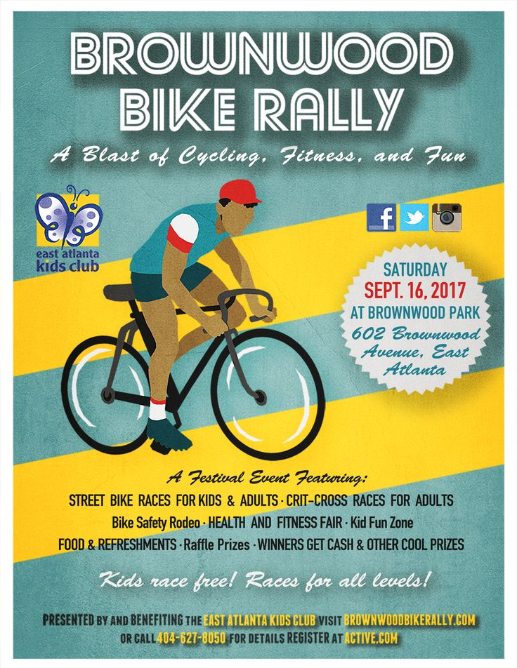 Get your bikes in gear for the East Atlanta Kids Club's 13th-annual Brownwood Bike Rally!   Join us on Saturday, September 16, 2017 at Brownwood Park in East Atlanta for another great day of bike racing & festival fun!   This year's event includes street bike races for kids and adults, a bike safety rodeo for kids, cross-track races for adults, a health fair, and a festival area featuring food, bike decorating, face painting, Zumba, and other family-friendly activities.