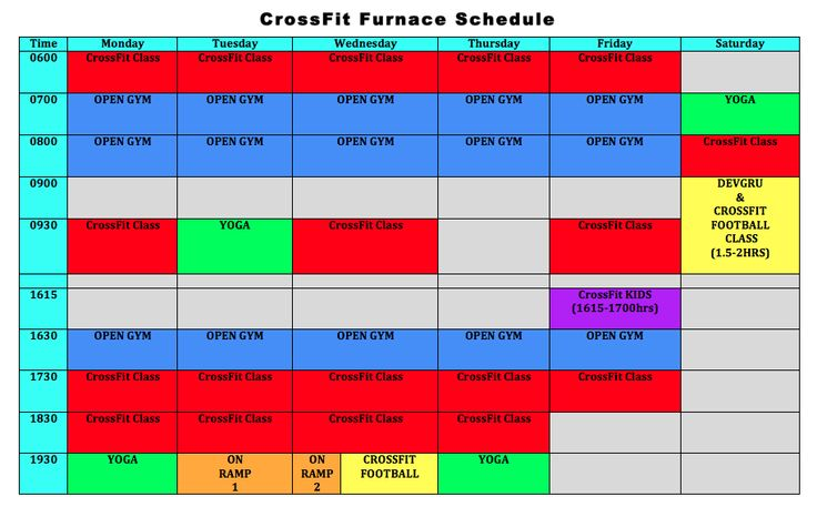 The Timetable - CrossFit Furnace - Give us a call and try one of our classes today!