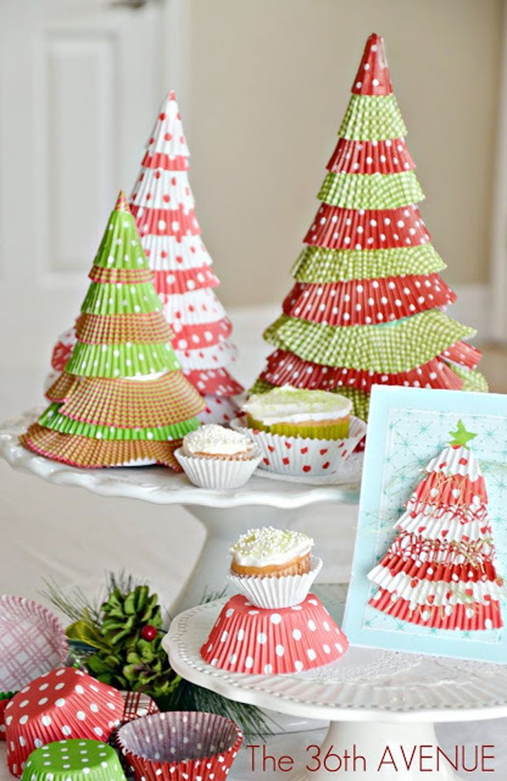 Glue cupcake liners together to get an unconventional Christmas tree!