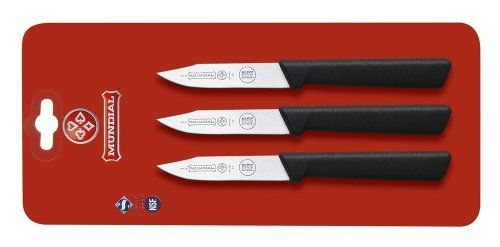 Mundial SC0548-3 3-Inch Clip Point Paring Knife Collection, Set of 3, Black by Mundial. $16.65. NSF Certified. See also mixed set SC0500-3 Paring Set. Handle contains built in anti microbial protection. Set of three clip point paring Knives. 3-inch blades. Professional chefs are the most demanding users of kitchen tools.  They count on products that enable them to do their best-day in and day out-with speed, precision and ease.  That's why chefs all around the world have made M...