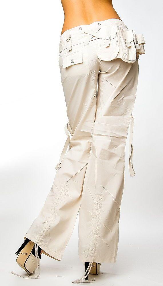 Cargo Hose mit Gürtel,weites Bein,FreizeithoseTrekking Jeans Damen Hose,36-42
