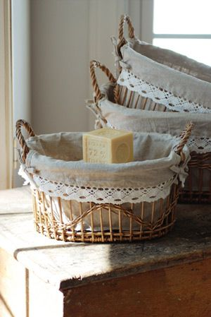 $26.95 wicker basket with linen liners
