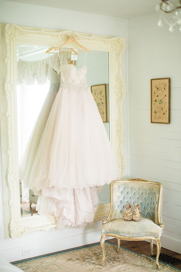 blush pink bridal gown, photo by Jackie Ray Photography http://ruffledblog.com/texas-backyard-wedding-ideas #weddingdress #fashion #bridal