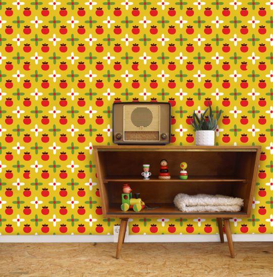 Dit mooie retro appeltjes van Bora Wallpaper zorgt voor een vintage uitstraling op de kinderkamer. En het is stiekem ook nog leuk voor de rest van het huis. Kleurrijk en vrolijk! Verkrijgbaar bij De Oude Speelkamer.