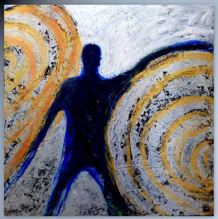 Ausdrucksstarkes Gemälde Der Besonderen Art. Sehr Aufwändig Und Hochwertig.  Der Breite Rahmen Unterstreicht Den Dynamischen Charakter.