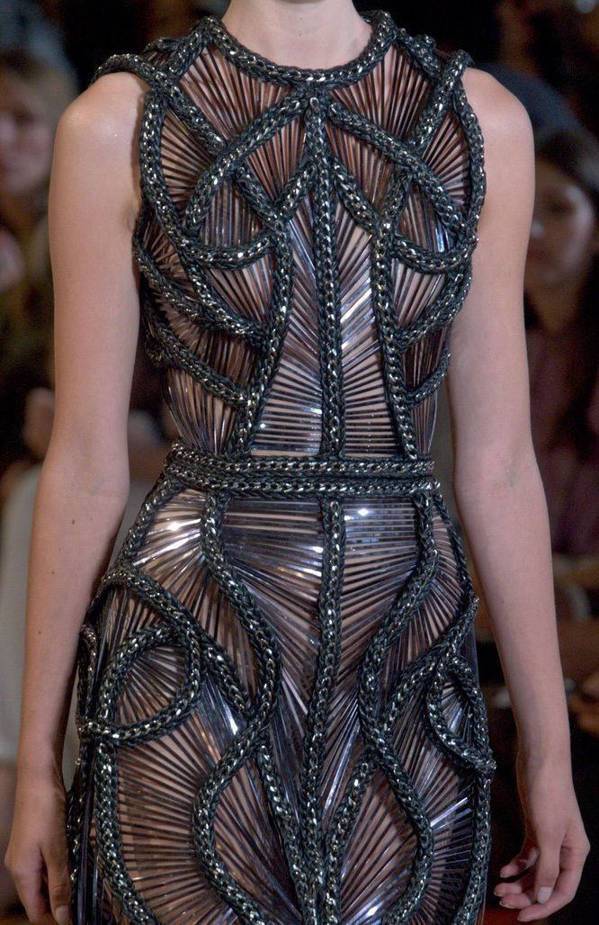 Iris van Herpen 'Hybrid Holism' Couture F/W 2012 detail | Heavy Beading and Compartmentalised Embellishment