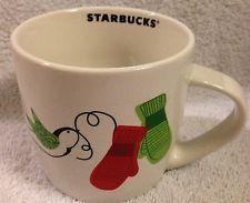 Starbucks Christmas Mug 2011 Mittens Doves 10 oz Coffee Mug