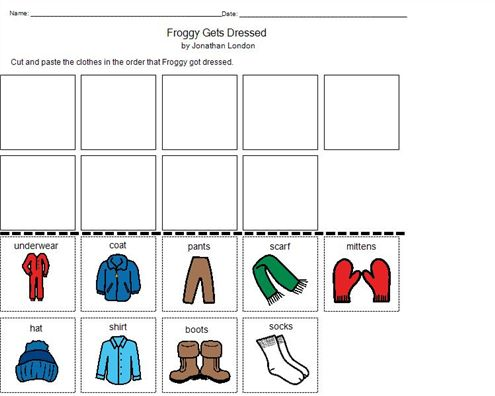Froggy Gets Dressed Activity Preschool Pinterest
