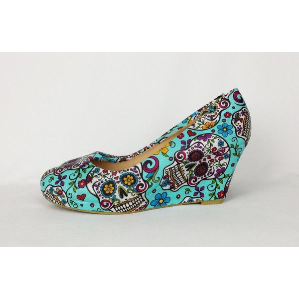 Blue Day of the Dead Shoes Sugar Skull Wedge Handmade and Unique Funky... ($50) ❤ liked on Polyvore featuring shoes, pumps, grey, women's shoes, blue pumps, blue high heel shoes, high heeled footwear, grey wedge shoes and grey pumps