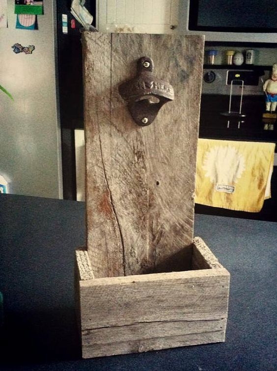 Handmade Rustic Bottle Opener with cap catcher made to order from reclaimed wood and uses a cast iron bottle opener. Can be wall mounted or