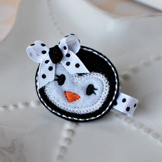 Black and White Penguin Hair Clip by MyLittlePixies on Etsy, $4.00