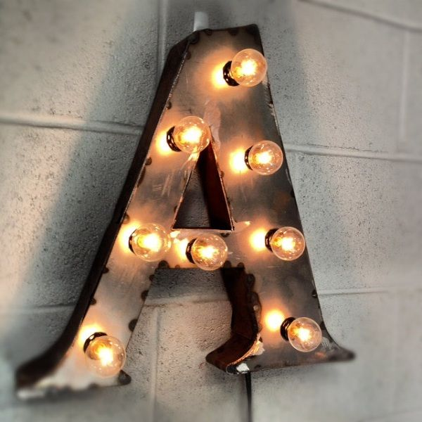 metal industrial light letters | Industrial Steel Marquee Box Letter