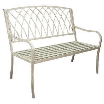Innova Hearth and Home Lancaster Steel Garden Bench Finish: Vintage White