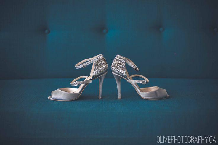 Silver beaded silk peeptoe heels | Olive Photography | www.olivephotography.ca | Toronto & GTA wedding photographer