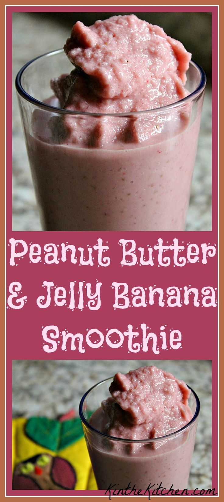 Reminiscent of a classic PB & J, this smoothie is naturally sweetened with honey and bananas, and contains strawberries and peanut butter for lots of flavor.