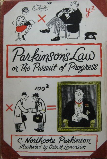 """wikipedia.org/ Originally, Parkinson's law is the adage that """"work expands so as to fill the time available for its completion"""", and the title of a book which made it well-known. However in current understanding, Parkinson's law is a reference to the self-satisfying uncontrolled growth of the bureaucratic apparatus in an organization."""
