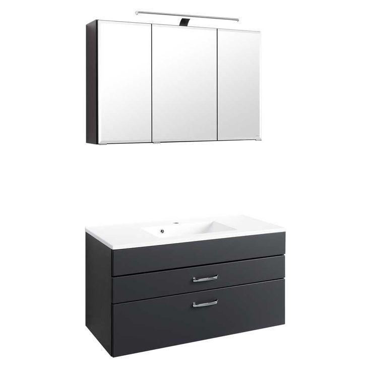 Luxury Badezimmer Spiegelschrank mit Waschtisch Anthrazit teilig Jetzt bestellen unter