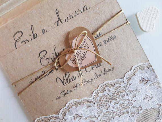 Invito Partecipazioni Personalizzato Matrimonio Carta Kraft E Pizzo Invito Rustico Counytry Shabby Chic Vintage Place Card Holders Place Cards Cowel