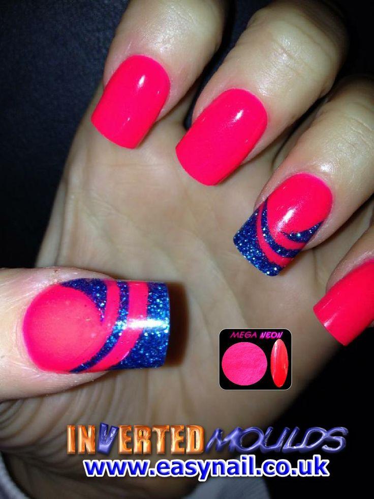 Mega NEON Pink acrylic nail art powder with blue glitter ...