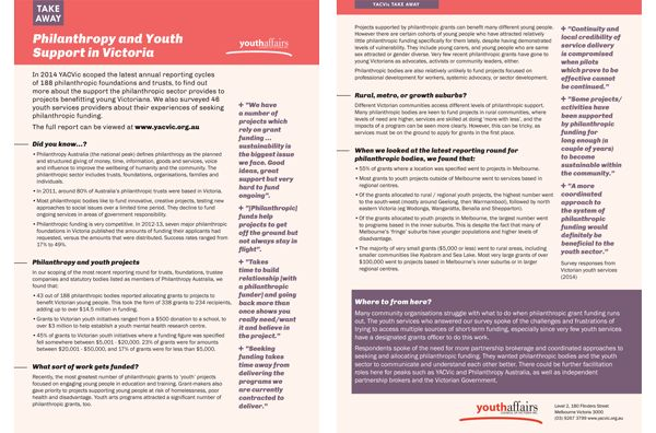 Philanthropy and the Victorian youth sector: YACVic takeaway policy info sheet