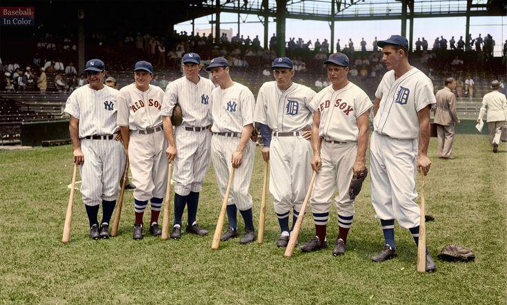 Lou Gehrig, Joe Cronin, Bill Dickey, Joe DiMaggio, Charlie Gehringer, Jimmie Foxx, and Hank Greenberg at the 1937 All-Star game.