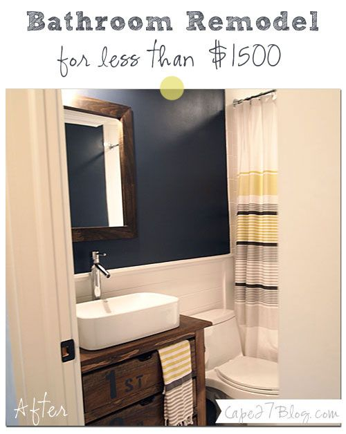navy, yellow + white bathroom: complete makeover, including a DIY vintage wood vanity