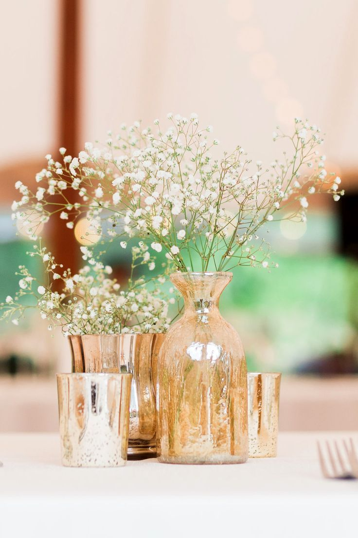 Simple Diy Flower Centerpieces Gold Mercury Candle Votives And