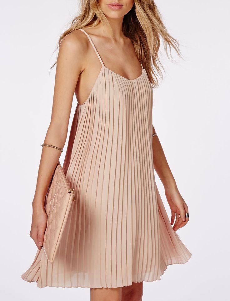 Apricot Spaghetti Strap Pleated Dress - Sheinside.com