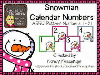 Joy of Kindergarten: Free Snowman Calendar Numbers, January Kindergarten Homework & RTI for Behavior