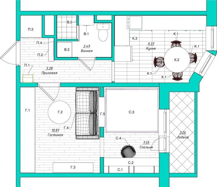 Светлый интерьер однокомнатной квартиры 38 м2