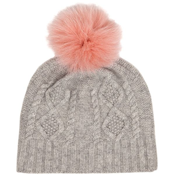 IDA Off Piste Hat - Grey With Pink Pom Pom (1.763.475 IDR) ❤ liked on Polyvore featuring accessories, hats, beanies, hair accessories, headwear, grey with pink pom pom, grey beanie, grey hat, beanie hats and gray hat