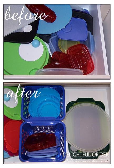 organize your plastic container lids