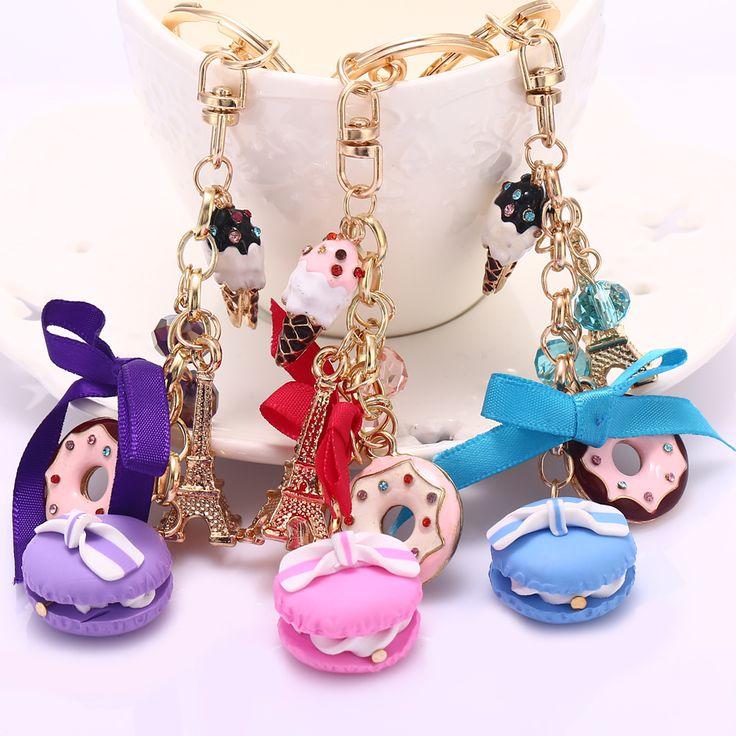 Keychain baru! Mode Berlian Imitasi Kue Pemegang Prancis LADUREE Macarons Gantungan kunci Pesona Tas Wanita Dekorasi Perhiasan Hadiah R011