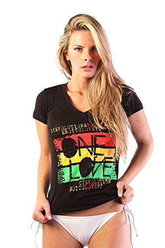 Cooyah One Love Reggae Rasta Ladies T Shirt Medium Black >>> Details can be found by clicking on the image.