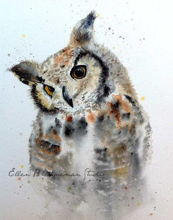 Great Horned Owl from my non-dominant hand series - 2014. #owl #owlart