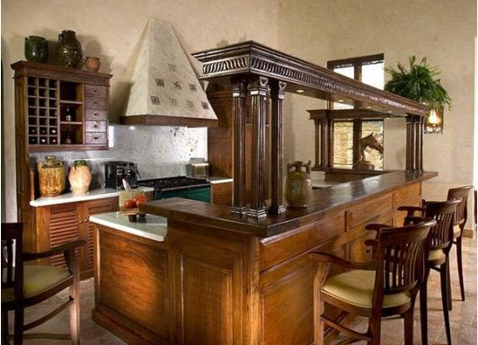 Kitchen with bar style countertops creative kitchens for Bar style countertop
