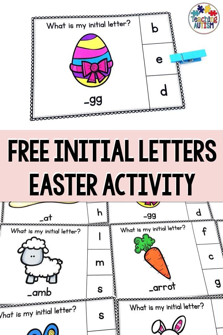Initial Letter Task Cards Free Easter Activities Task Cards