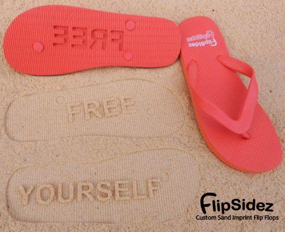Custom Sand Imprint Flip Flops. Personalize by FlipSideFlipFlops - Free yourself