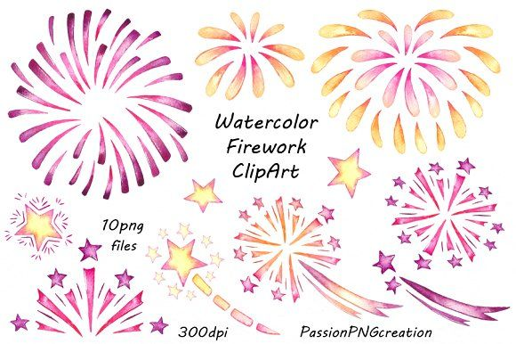 Watercolor Firework Clipart by PassionPNGcreation on @creativemarket