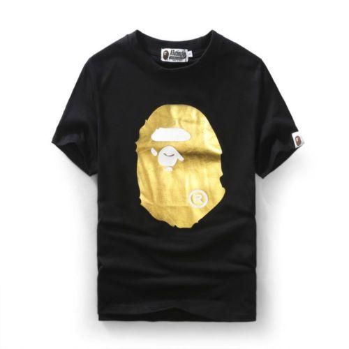 e5d53c17ff3 Details about Men s BAPE Gold Monkey Head Tee Japan T-Shirt Black ...