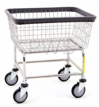 R&B Wire Products - R&B Wire #100D Rolling Narrow Laundry Cart/Chrome Basket on Wheels