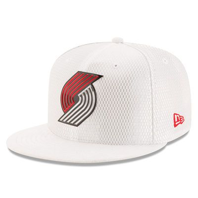 Men's Portland Trail Blazers New Era White 2017 Official On-Court Collection 59FIFTY Fitted Hat