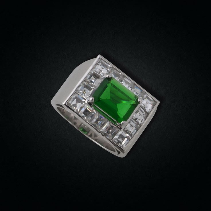 18K White Gold Emerald & Diamond Statement Ring