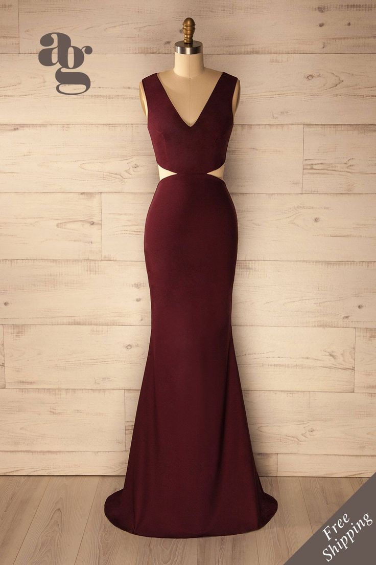 Milia Burgundy - Waist cut-outs evening gown